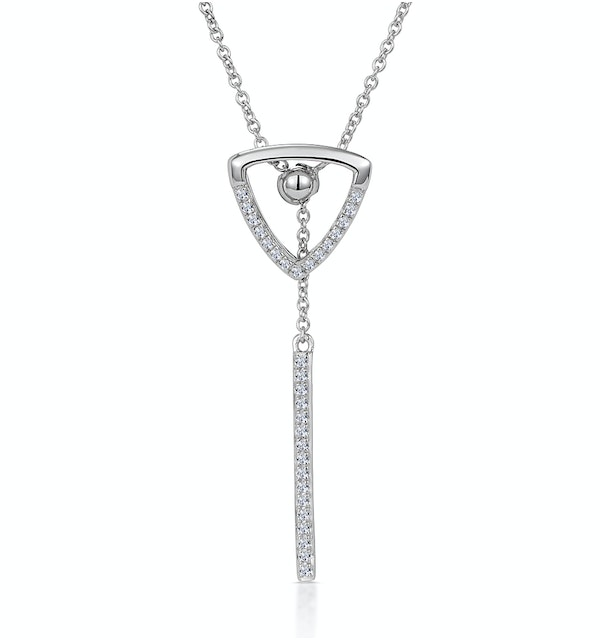 Stellato Collection Triangle and Bar Diamond Necklace in 9K White Gold - image 1