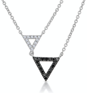 Stellato Collection Duo Triangles Diamond Necklace in 9K White Gold