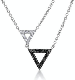 Stellato Collection Duo Triangles Diamond Necklace in 9K White Gold