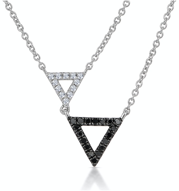 Stellato Collection Duo Triangles Diamond Necklace in 9K White Gold - image 1