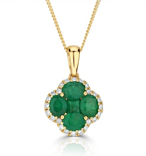 Emerald 1.04ct and Diamond 18K Yellow Gold Alegria Necklace