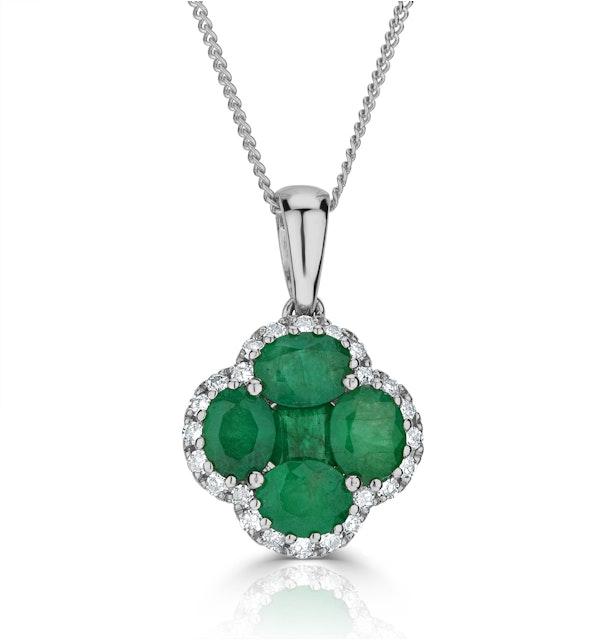 Emerald 1.04ct and Diamond 18K White Gold Alegria Necklace - image 1