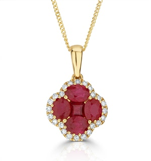 Ruby 1.34ct and Diamond 18K Yellow Gold Alegria Necklace