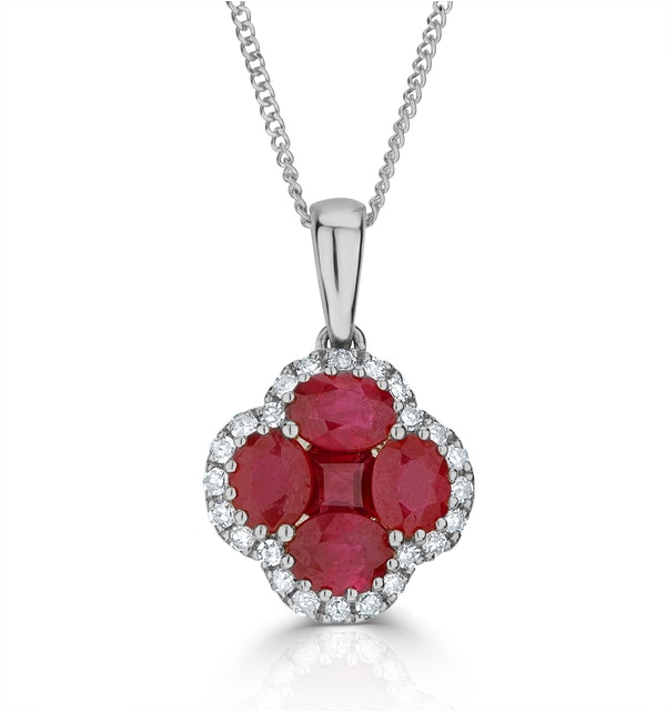 Ruby 1.34ct and Diamond 18K White Gold Alegria Necklace - image 1