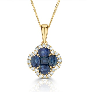 Sapphire 1.08ct And Diamond 18K Yellow Gold Alegria Necklace