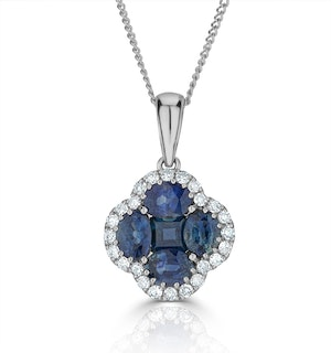 Sapphire 1.08ct And Diamond 18K White Gold Alegria Necklace