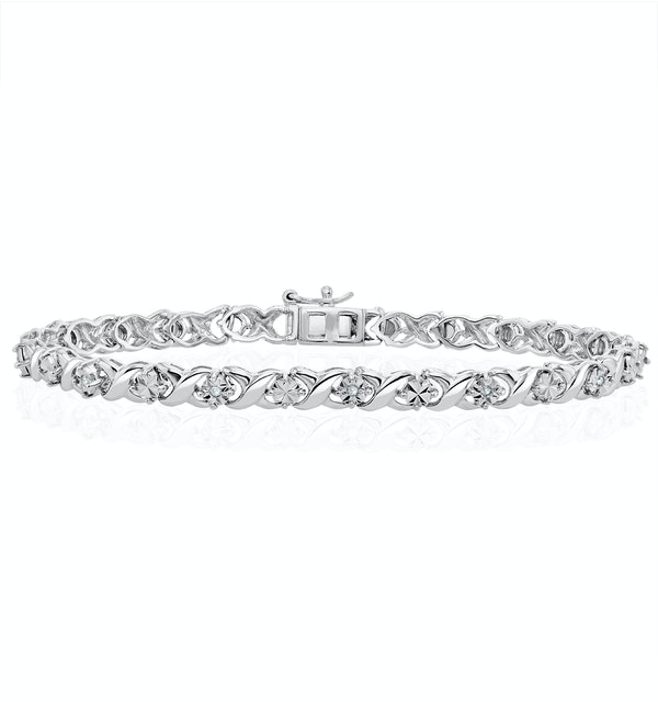 Diamond Kisses Bracelet With 0.05ct Set in 925 Silver - image 1