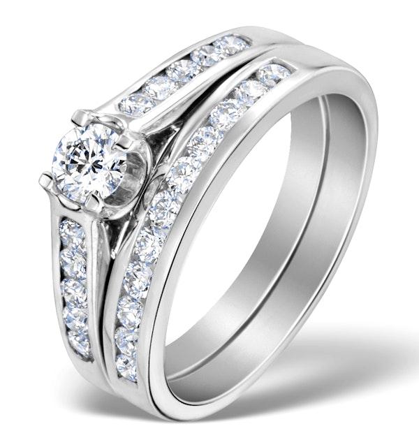 Matching Diamond Engagement and Wedding Ring 0.86ct Platinum - image 1