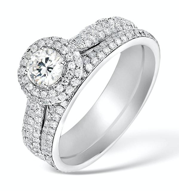 Matching Diamond Engagement - Wedding Ring 1.50ct SI2 18K Gold -DN3243 - image 1