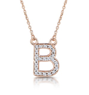 Initial 'B' Necklace Diamond Encrusted Pave Set in 9K Rose Gold