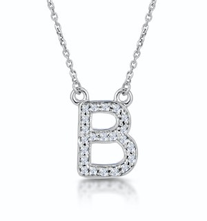 Initial 'B' Necklace Diamond Encrusted Pave Set in 9K White Gold