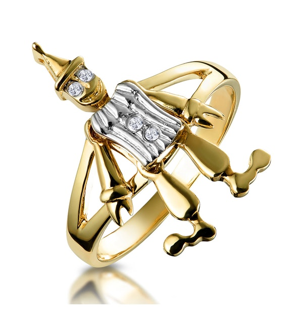 Diamond Clown Ring with Moving Arms and Legs in 9K Gold - image 1