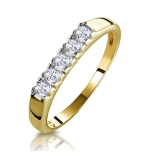Five Stone Diamond Half Eternity Ring in 9K Gold