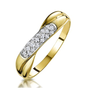0.16ct Diamond Crossover Ring in 9K Gold - Size S