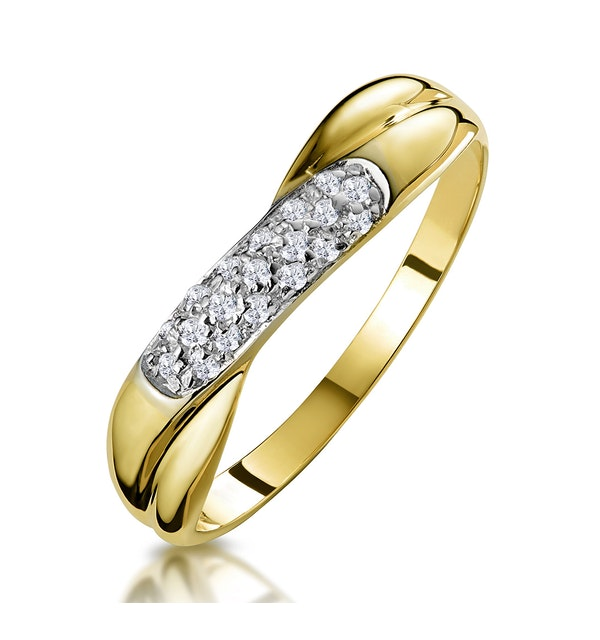 0.16ct Diamond Crossover Ring in 9K Gold - Size S - image 1