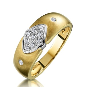 Pave Diamond Ring with Bezel Shoulders in 9K Gold
