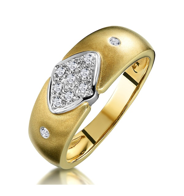 Pave Diamond Ring with Bezel Shoulders in 9K Gold - image 1