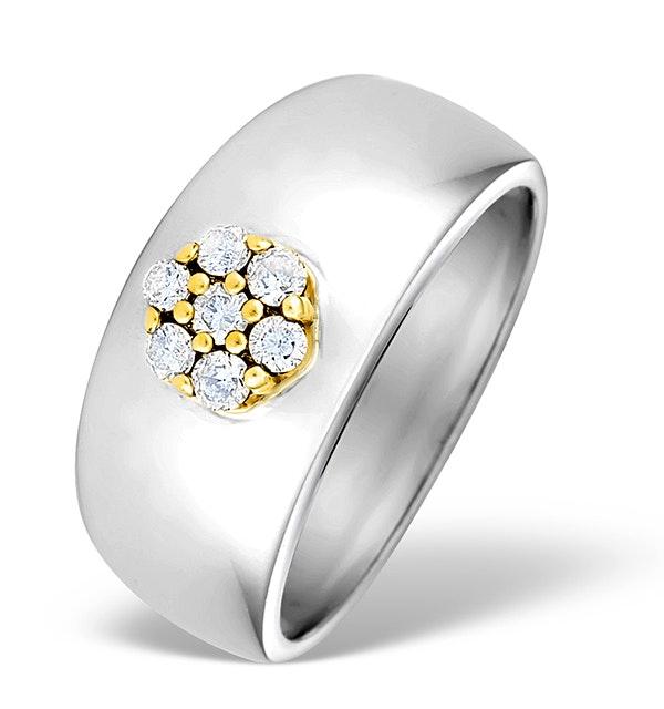 9K White Gold Diamond Pave Set Ring - E3667 - image 1