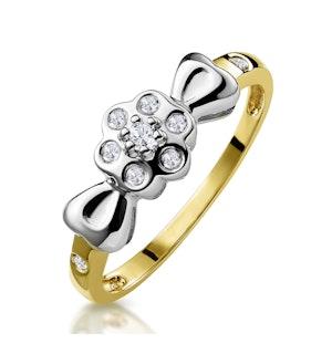 Bezel Diamond Flower Ring in 9K Gold