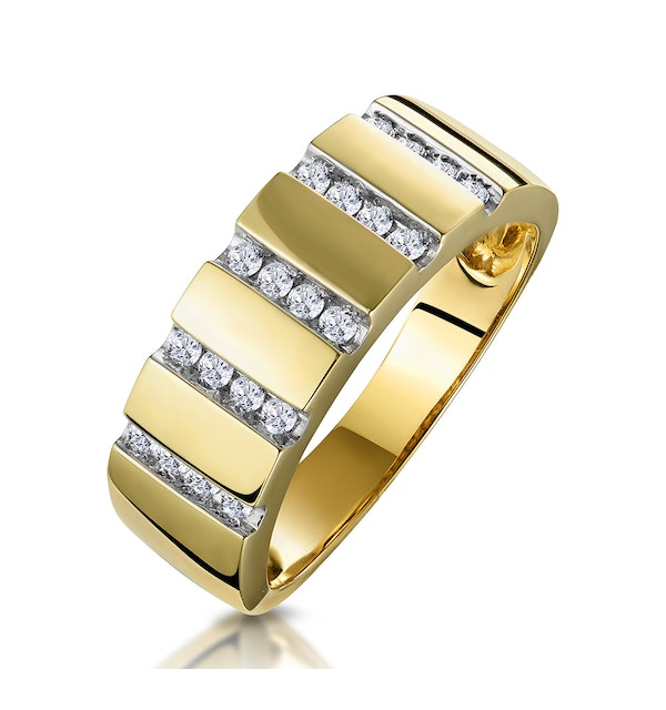 0.25ct Diamond Grooved Half Eternity Ring in 9K Gold - image 1