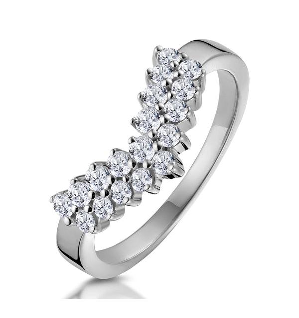 Diamond Wishbone Ring 0.45ct in 9K White Gold - image 1