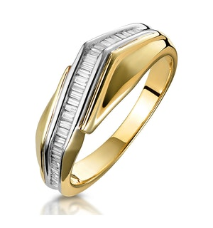 0.25ct Diamond Baguette Twist Ring in 9K Gold