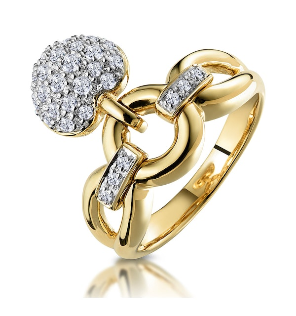 Retro Pave Diamond Ring with Hanging Heart Feature - image 1