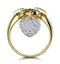 Retro Pave Diamond Ring with Hanging Heart Feature - image 2