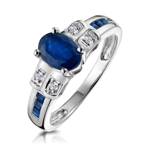 Sapphire 1.25ct And Diamond 9K White Gold Ring - image 1