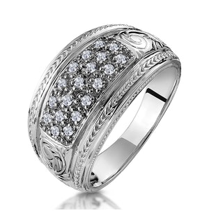 Pave Diamond Ring with Filigree in 9K White Gold
