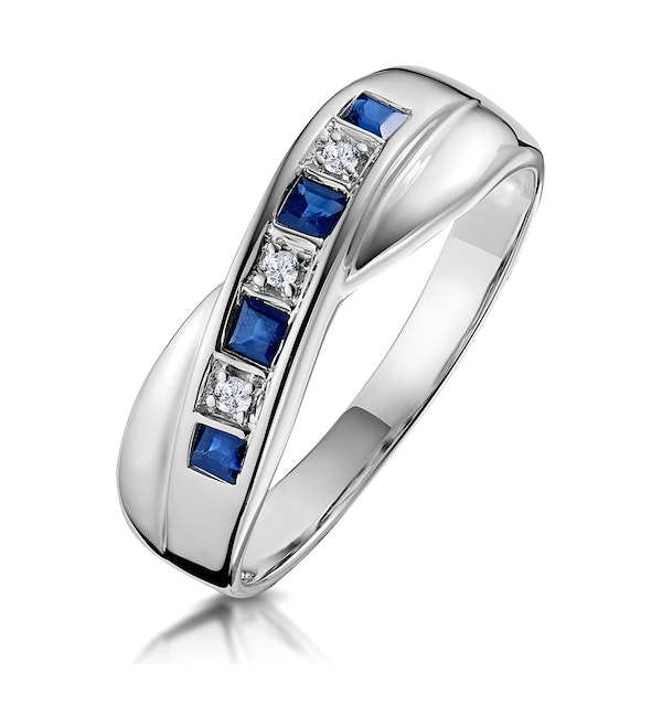 Sapphire 0.45ct And Diamond 9K White Gold Crossover Ring - image 1