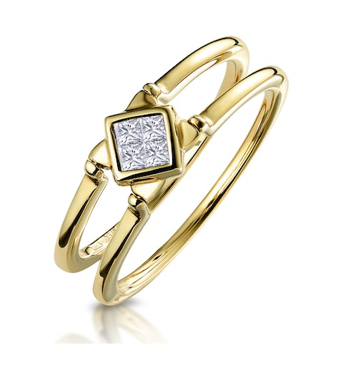 Sapphire and Diamond Reversable Ring in 9K Gold - image 1