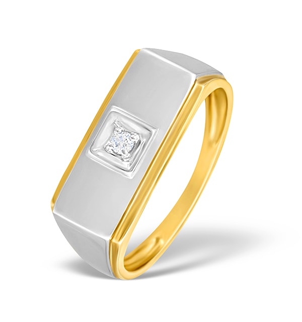 9K Two Tone Diamond Solitaire Ring - E4850 - image 1