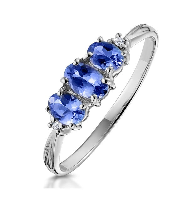 Tanzanite 0.59CT And Diamond 9K White Gold Ring - image 1