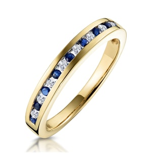 Sapphire 0.12ct And Diamond 9K Gold Ring