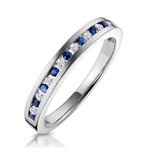 Sapphire 0.12ct And Diamond 9K White Gold Ring