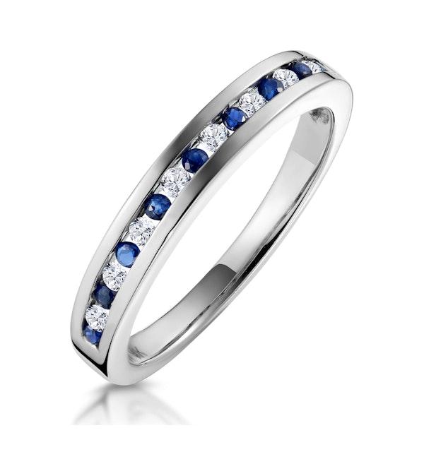 Sapphire 0.12ct And Diamond 9K White Gold Ring - image 1