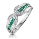 Emerald And 0.12CT Diamond Ring 9K White Gold - image 1