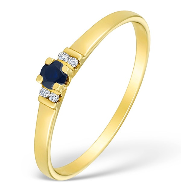 9K Gold Diamond and Sapphire Solitaire Style Ring - E4078 - image 1