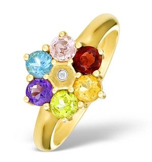 9K Gold Diamond and Multi Stone Ring - E4079