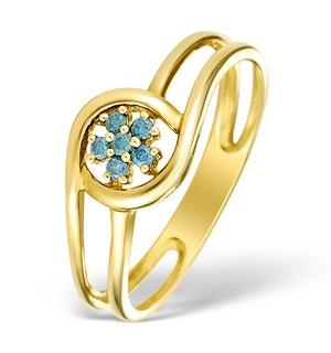 9K Gold Blue Diamond Design Ring - E4188