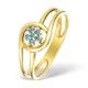 9K Gold Blue Diamond Design Ring - E4188 - image 1