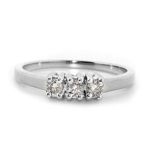 9K White Gold Diamond Value Three Stone Ring 0.25ct