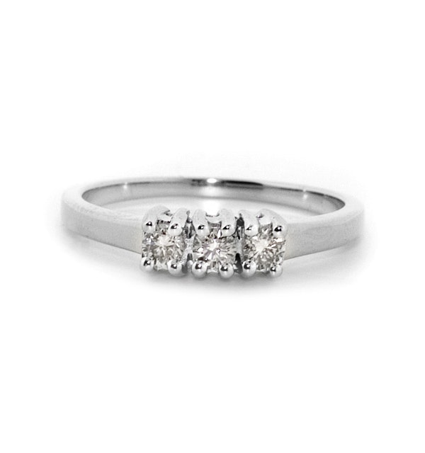 9k White Gold Diamond Value Three Stone Ring 0 25ct