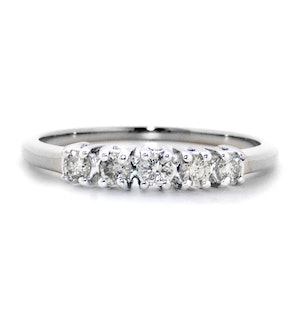9K White Gold Diamond Value Five Stone Ring 0.25ct