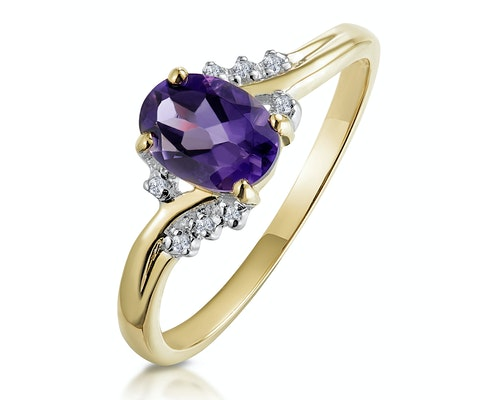 amethyst yellow gold engagement rings