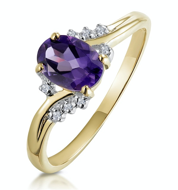 Amethyst 0.68ct And Diamond 9K Gold Ring - image 1