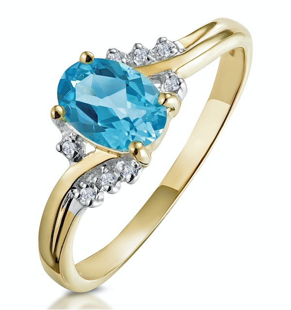 Blue Topaz 0.94CT And Diamond 9K Yellow Gold Ring - image 1
