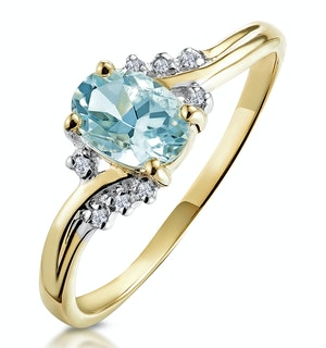 Aquamarine 0.70CT And Diamond 9K Yellow Gold Ring
