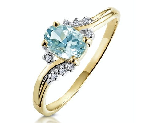 Yellow Gold Aquamarine Rings